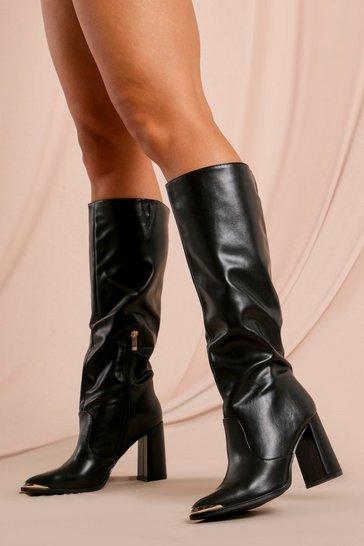 Black Leather Look Metal Toe Detail Ruched Boot