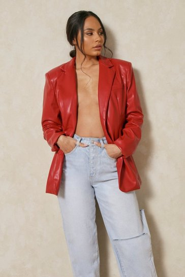 Red Faux Leather Oversized Blazer
