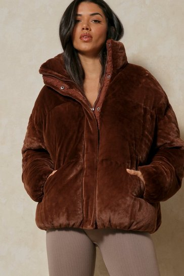 Chocolate Faux Fur Puffer Jacket