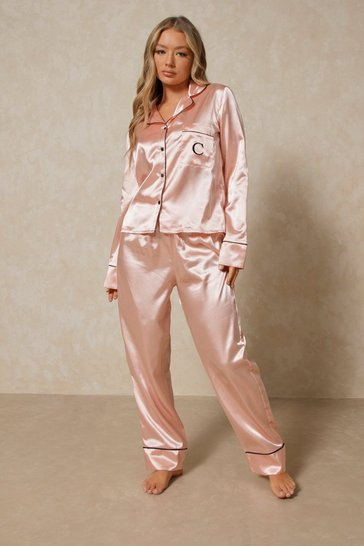 Blush Satin Initial Detail Trouser Pj Set - C
