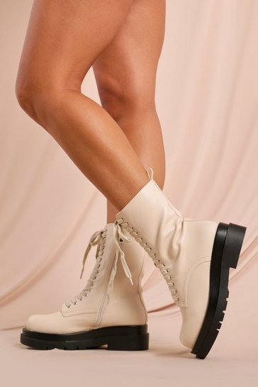 Cream Lace Up Chunky Sole Ankle Boot