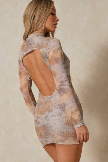 Camel Marble Print Mesh Extreme Backless Mini Dress