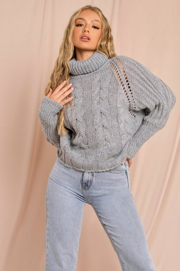 Grey Roll Neck Cable Knit Jumper