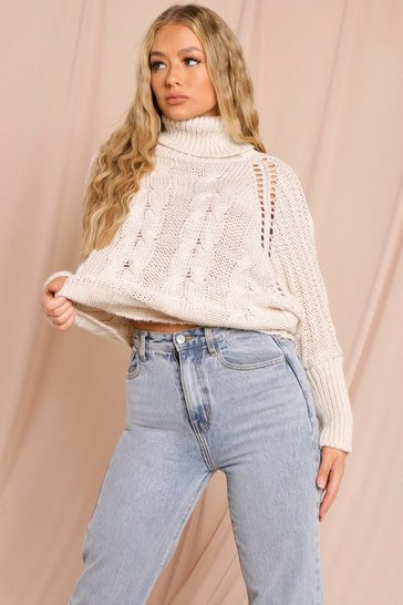 Stone Roll Neck Cable Knit Jumper