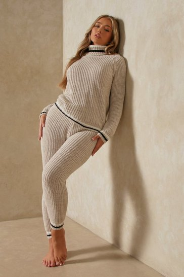 Stone Stripe Detail Roll Neck Knitted Co Ord Set