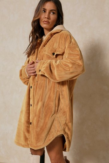Camel Oversized Long Line Faux Fur Jacket
