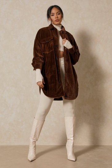 Chocolate Oversized Long Line Faux Fur Jacket