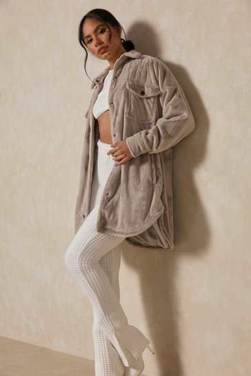Grey Oversized Long Line Faux Fur Jacket