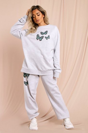 Grey marl Oversized Butterfly Sweatshirt