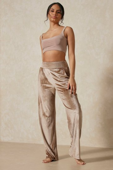 Brown Shirred Waist Detail Velour Wide Leg Jogger