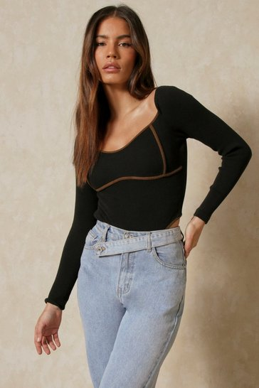 Chocolate Ribbed Long Sleeve Contrast Seam Bodysuit