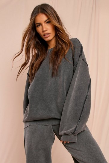 Grey Washed Raw Seam Detail Oversized Sweatshirt