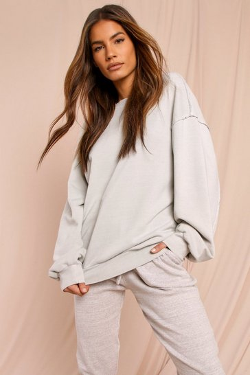 Stonewash Washed Raw Seam Detail Oversized Sweatshirt