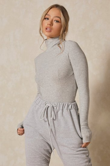 Grey Premium Rib Turtle Neck Seam Detail Bodysuit
