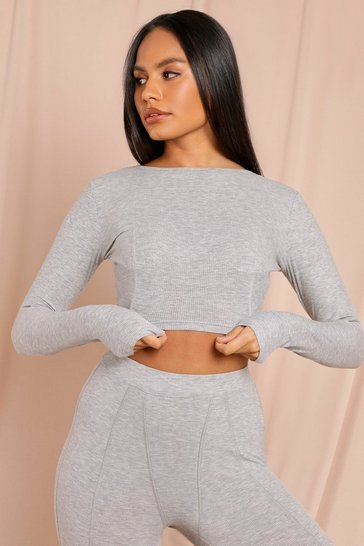 Grey Premium Rib Seam Detail Long Sleeve Top