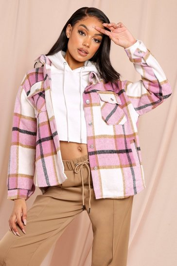 Pink Oversized Brushed Check Shacket
