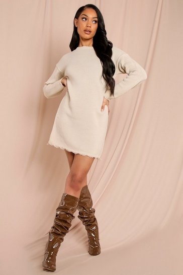 Stone Distressed Hem Jumper Dress