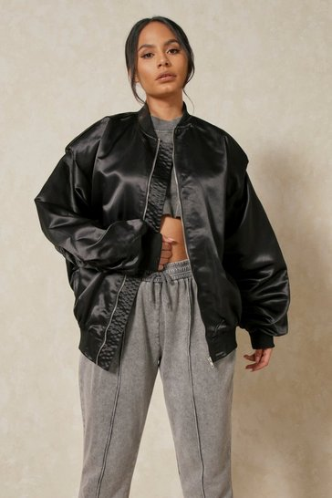 Black Satin Oversized Shoulder Pad Bomber Jacket