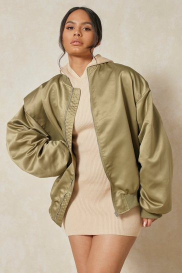 Khaki Satin Oversized Shoulder Pad Bomber Jacket