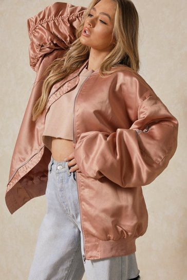 Blush Oversized Satin Longline Bomber Jacket
