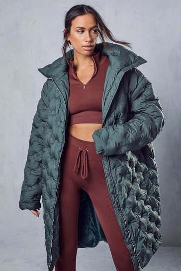 Bottle green Oversized Pintuck Detail Longline Puffer