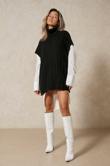 Black Cable Knit Roll Neck Jumper and Shirt