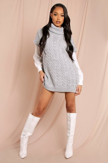 Grey Cable Knit Roll Neck Jumper and Shirt