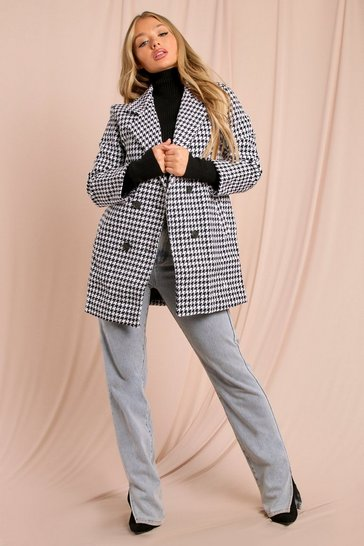 Black Dogtooth Oversized Blazer Jacket