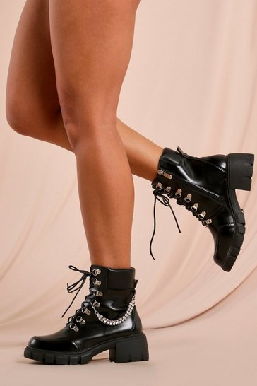 Black Diamante Detail Chunky Ankle Boot