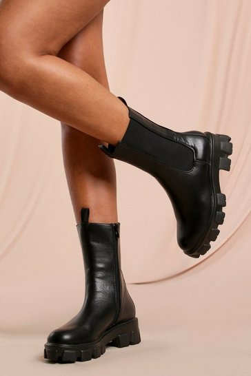 Black Chunky Sole Calf Chelsea Boot