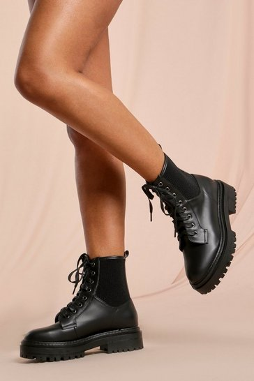 Black Leather Look Rib Detail Ankle Boot