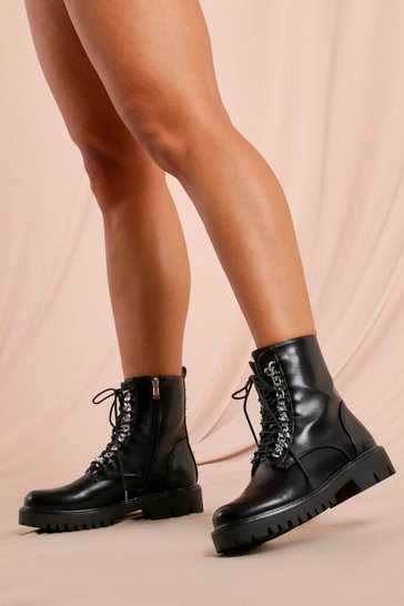 Black Chain Detail Chunky Ankle Boot