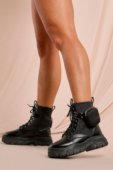 Black Pocket Detail Chunky Sole Ankle Boot