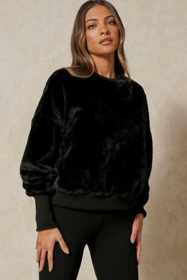Black Faux Fur Oversized Jumper