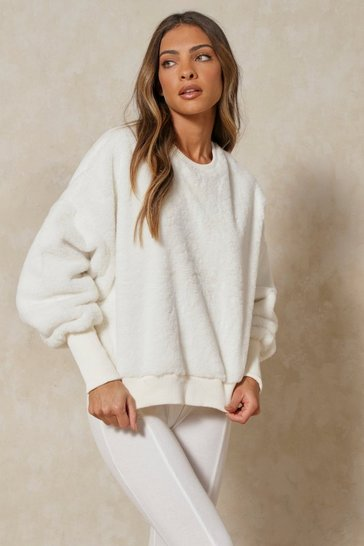 Cream Faux Fur Oversized Jumper
