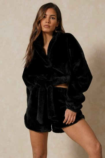 Black Faux Fur Co-ord