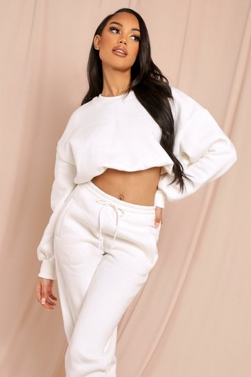 Cream Ruched Cropped Sweater