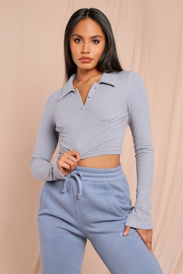 Blue Ribbed Collared Button Front Crop Top