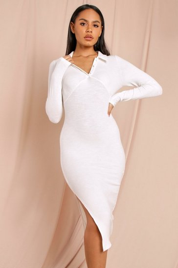 Cream Premium Ribbed Collared Midi Dress