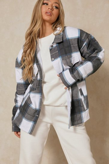 Blue Oversized Checked Pocket Detail Shacket