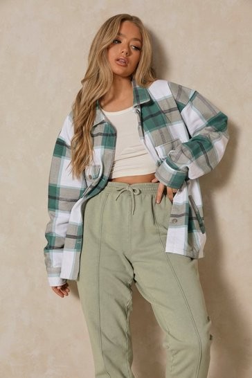 Green Oversized Checked Pocket Detail Shacket