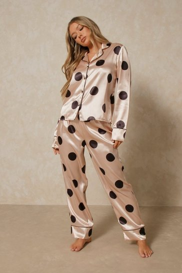 Blush Polka Dot Satin Trousers Pj Set
