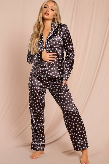 Black Star Print Satin Pants Pj Set
