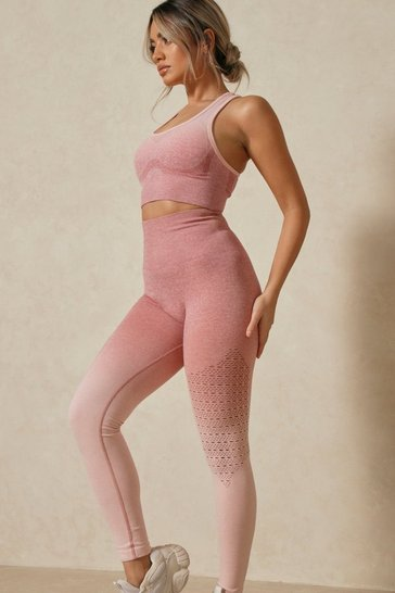 Blush Seamless Ombre Bra And High Waisted Activewear Set