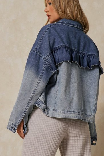 Blue Ombre Denim Jacket With Ruffle Back
