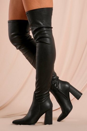 Black PU Stretch Pointed Toe Block Thigh High Boot