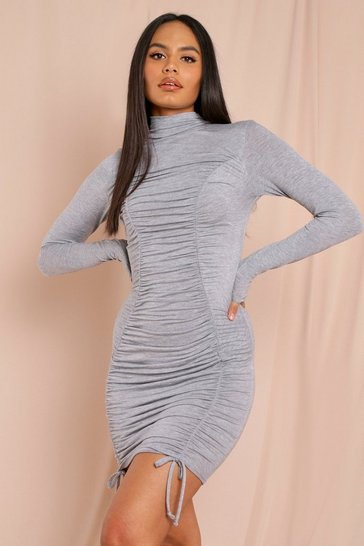 Grey Jersey Ruched Mini Dress