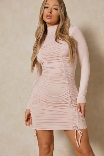 Nude Jersey Ruched Mini Dress