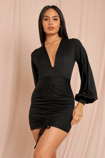 Black Ribbed Ruched Balloon Sleeve Dress