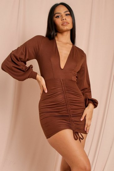 Chocolate Ribbed Ruched Balloon Sleeve Dress